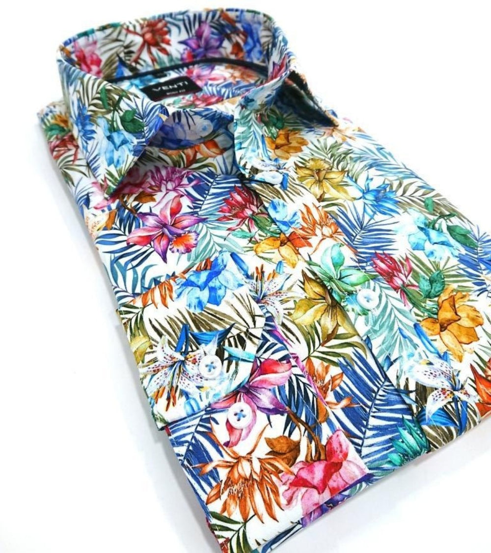 VENTI SLIM FIT SHIRT FLORAL COTTON