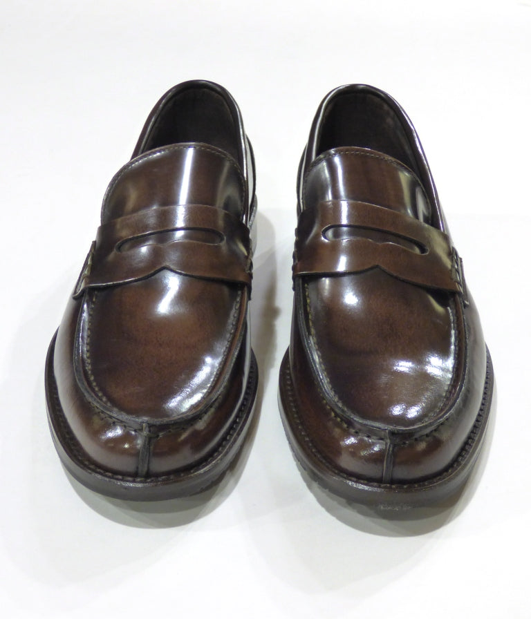 brown leather penny loafers