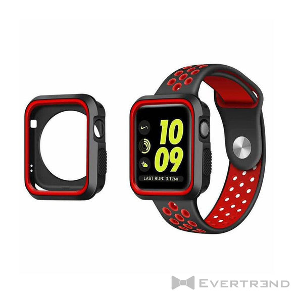 Coque de Protection Bumper Noir Rouge-Apple Watch-Evertrend