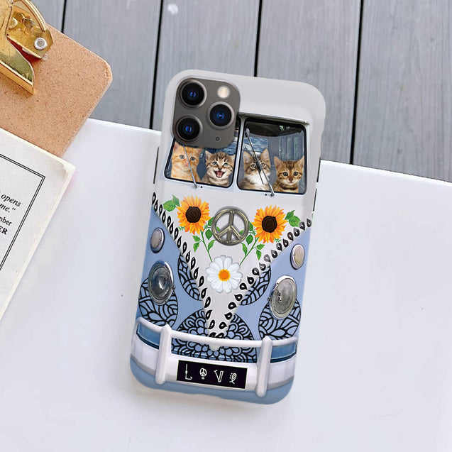 Hippie Sunflower Cat Bus Silicone Case for iPhone Samsung natr250507