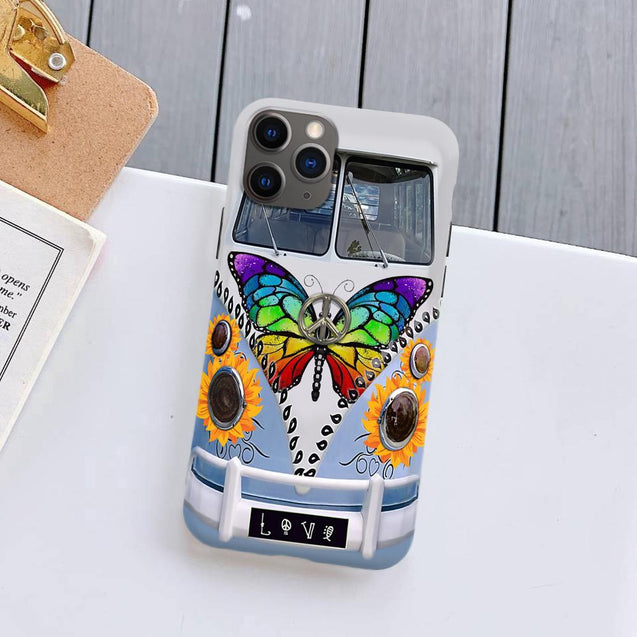 Hippie Sunflower Butterfly Bus Silicone Case for iPhone Samsung ttr250502