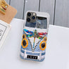 Hippie Sunflower Dragonfly Bus Silicone Case for iPhone Samsung natr250505