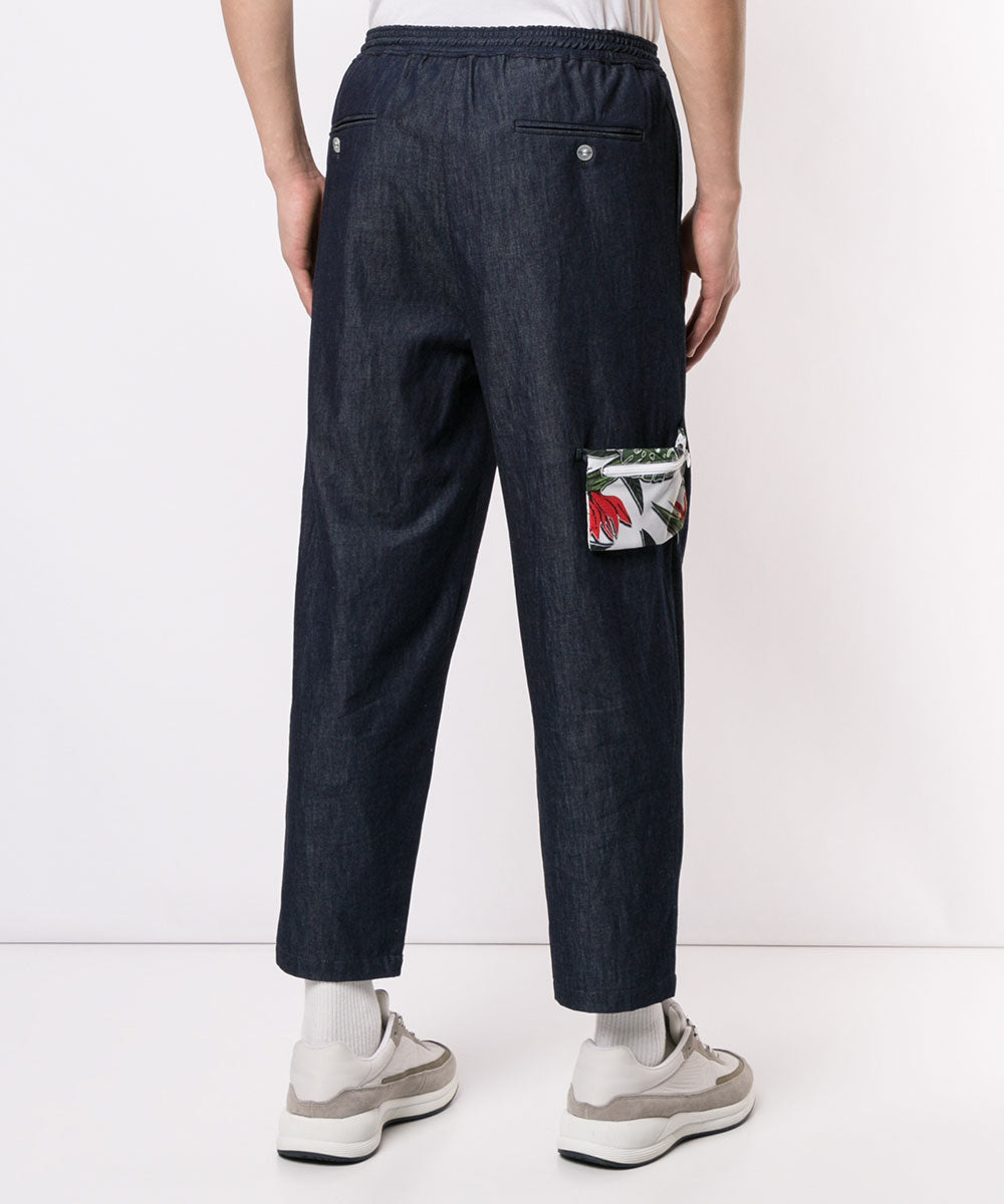 DENIM TUCK PANTS