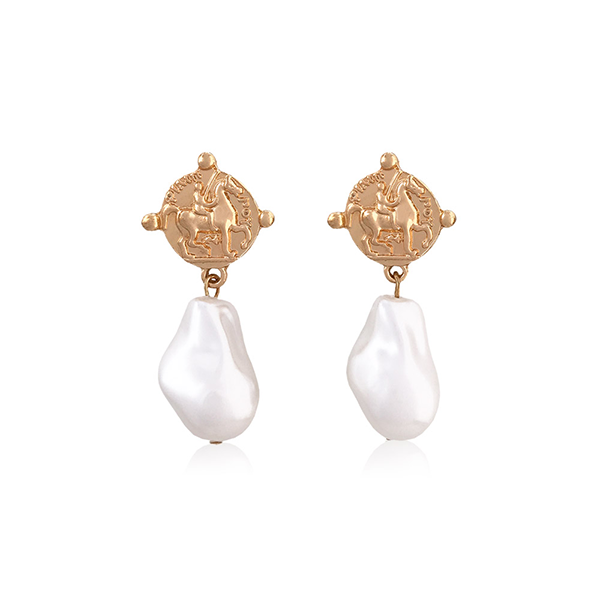Pearl Coin Drop Earrings