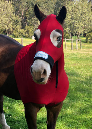 Fly Buster Premium Horse Hood - Red