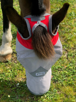 Fly Buster Long Nose Fly Mask - Red and Grey
