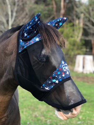 Fly Buster Fly Mask With Ears and Nose - Starry Nights