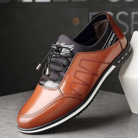 Vipomall Fashion Men's Lace Up Casual Leather Shoes