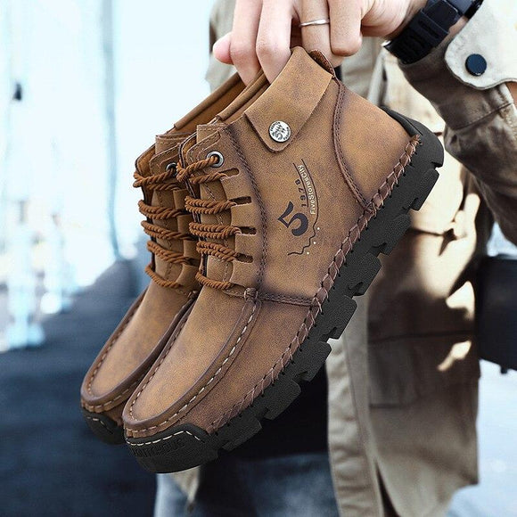 Vipomall Men's Quality Microfiber Leather Ankle Boots