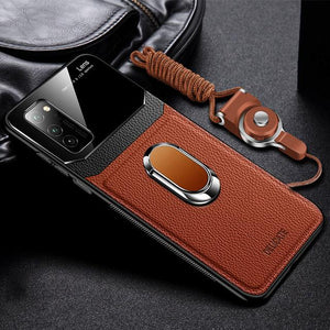 Vipomall Shockproof PU Leather Tempered Glass With Stand Case for Samsung Galaxy S20(Buy 2 Get 10% OFF)