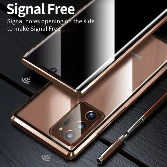 Vipomall Anti Peeping Privacy Glass Metal Magnetic Case for Samsung Galaxy Note Series
