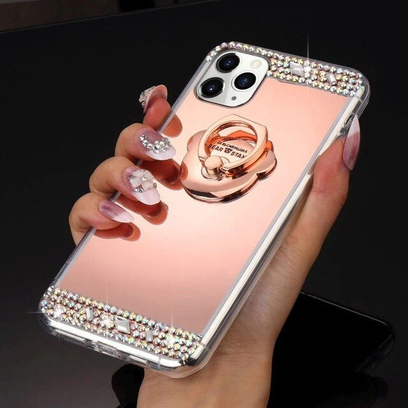 Bling Glitter Cute Ear Rings Mirror Case for iPhone
