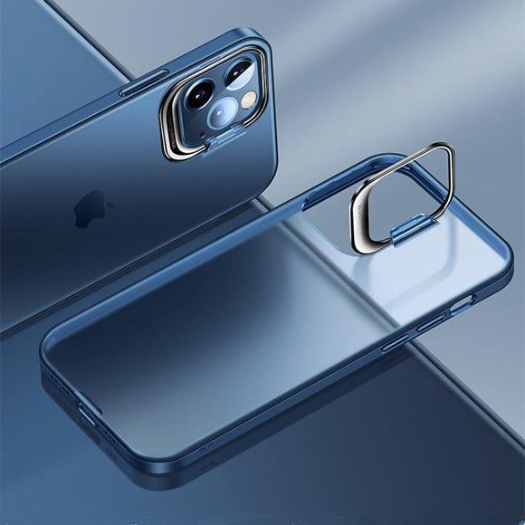 Vipomall Bracket Holder Design Transparent Matte Case For iPhone 12