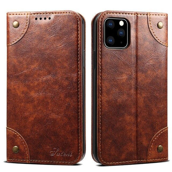 Vipomall Classic Magnetic Book Flip Leather Case For iPhone 12