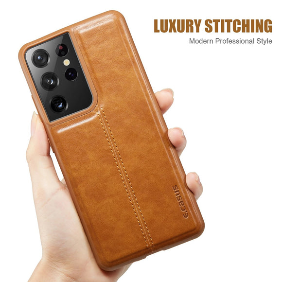 Vipomall Fashion PU Leather Back Cover for Samsung Galaxy S21 Series