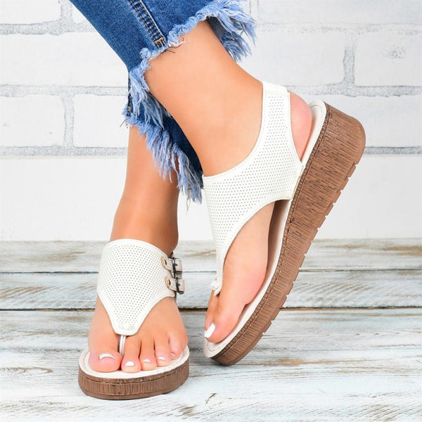 Ladies Perforated Toe Buckle Wedge Sandals(Buy 2 Get 10% OFF)