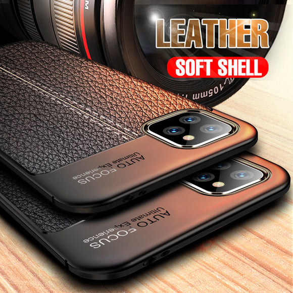 Vipomall Luxury Litchi Leather Texture TPU Cover for iPhone 12