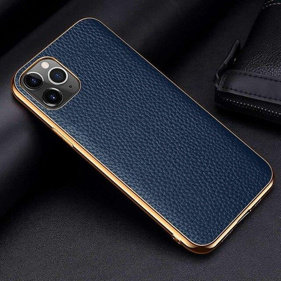 Vipomall Luxury Electroplate Frame Cow Litchi Leather Cases For iPhone 12 Series