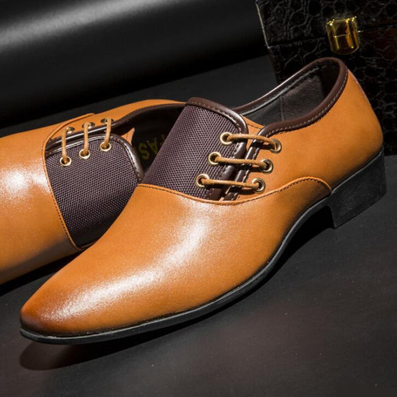 Vipomall Fashion Side Lace Up Oxford Shoes for Men