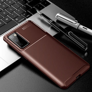 Vipomall Luxury Carbon Fiber Soft TPU Silicone Cases for Samsung Galaxy S20