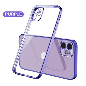 Vipomall Luxury Square Soft Plating Clear Case For iPhone