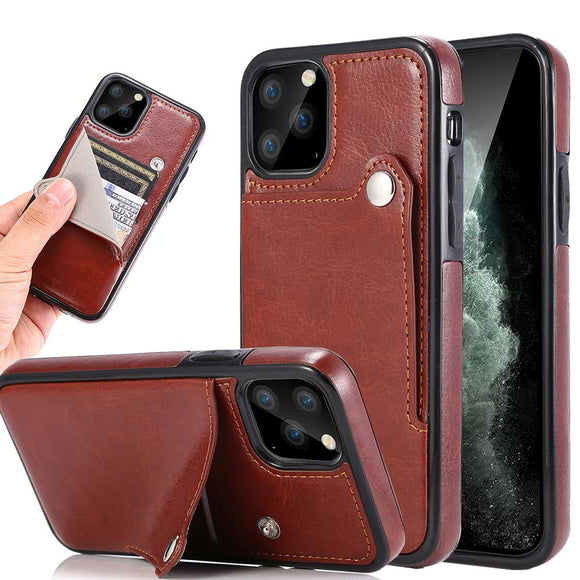 Vipomall Luxury PU Leather Buckle Strap Cases For iPhone 12