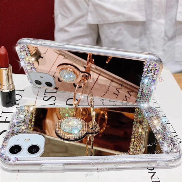 Vipomall Bling Mirror Diamond Case For iPhone 12 Series with Holder