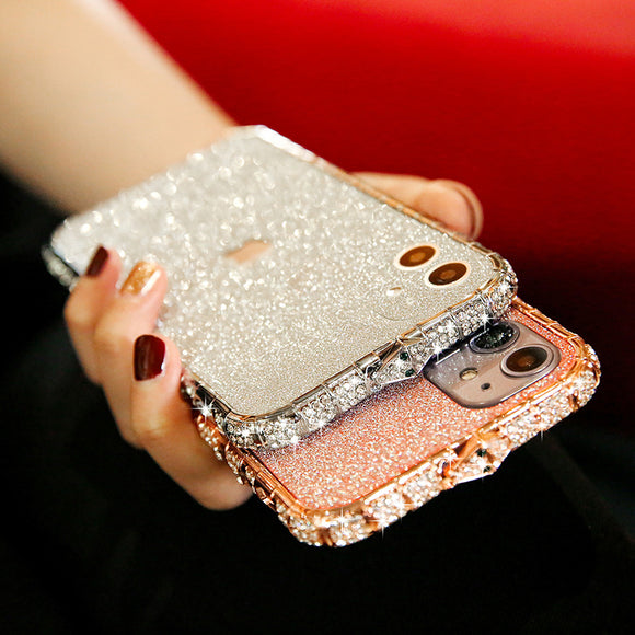 Vipomall Rhinestone Metal Bumper Glitter Stickers Cover For iPhone 12 Series