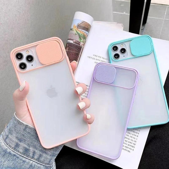 Vipomall Push Camera Protection Transparent Case For iPhone 12