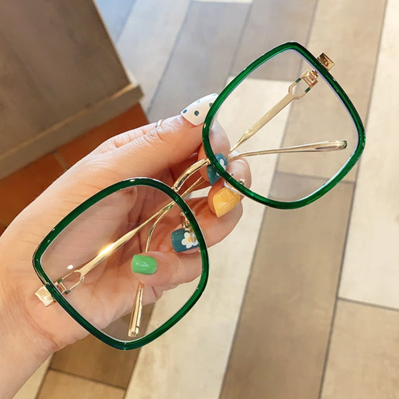 Oversized Alloy Square Clear Glasses