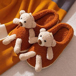 Home 3D Cute Bear-doll Furry Slippers