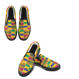 Kwams Men's Slip-on Shoes- Gold Kente - Lord Merchx