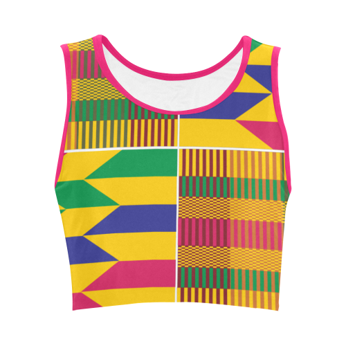 Women's Kente Crop Top - Gold Kente - Lord Merchx