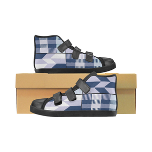 Joojo kids high top velcro shoes - blue kente - Lord Merchx