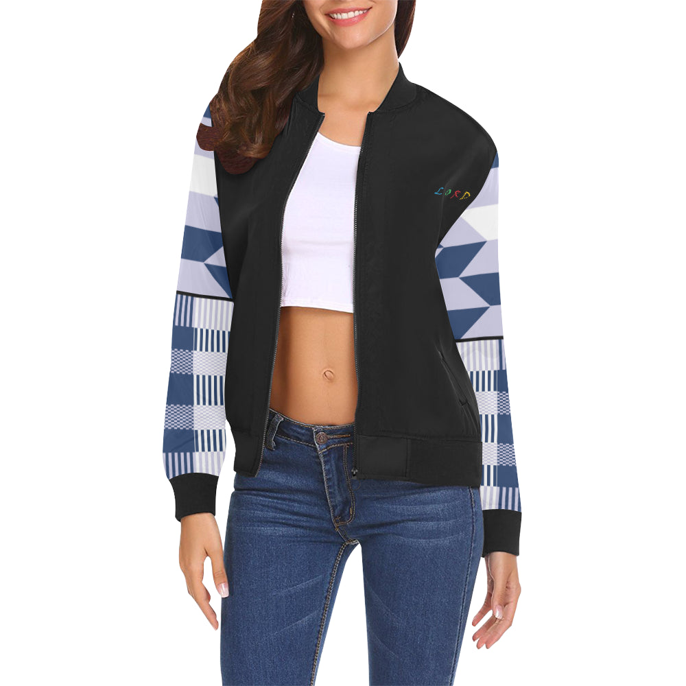 Women's Bomber Jacket - Blk/Blue - Lord Merchx