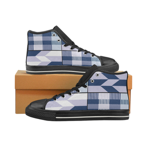 Ekow women's high top canvas sneakers blue kente - Lord Merchx