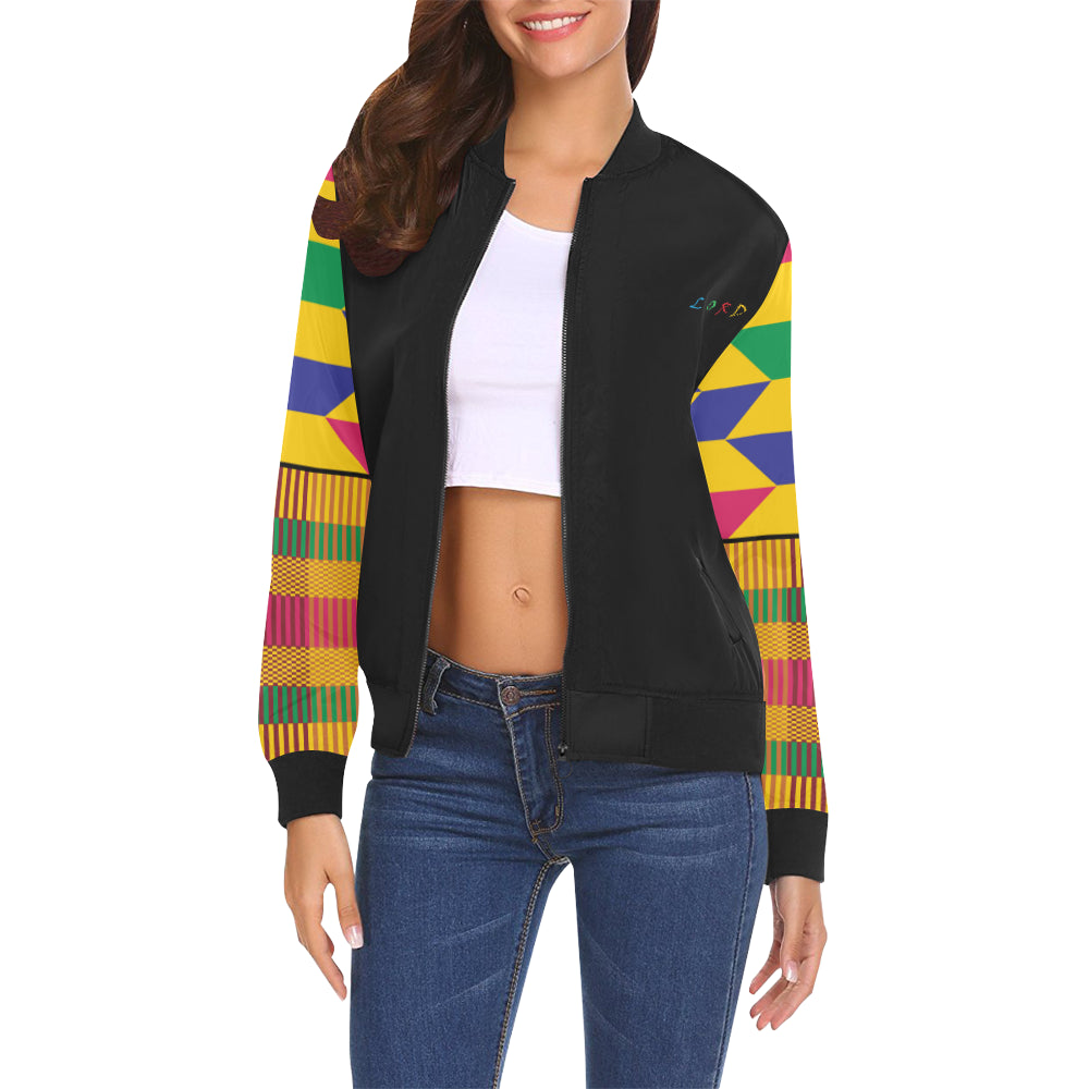 Women's Kente Bomber Jacket - Blk/Gld - Lord Merchx