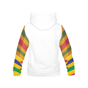 Men's Kente Hoodie - White/Gold - Lord Merchx