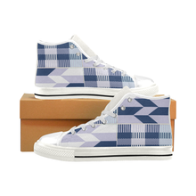 Ekow Men's High Top Canvas Shoe - Blue Kente - Lord Merchx