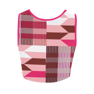 Women's Kente Crop Top - Pink Kente - Lord Merchx