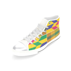 Ekow Women's High Top Sneakers - Gold Kente - Lord Merchx