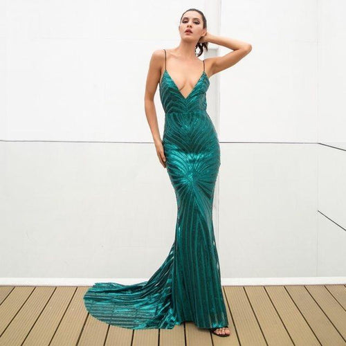 75f32689bcd Ecstasy Green Plunge Sequin Maxi Fishtail Gown Dress - Fashion Genie  Boutique