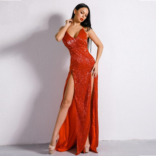 2d6050747f872 Dazzling Dime Red Sequin Double Split Maxi Party Gown Dress - Fashion Genie  Boutique