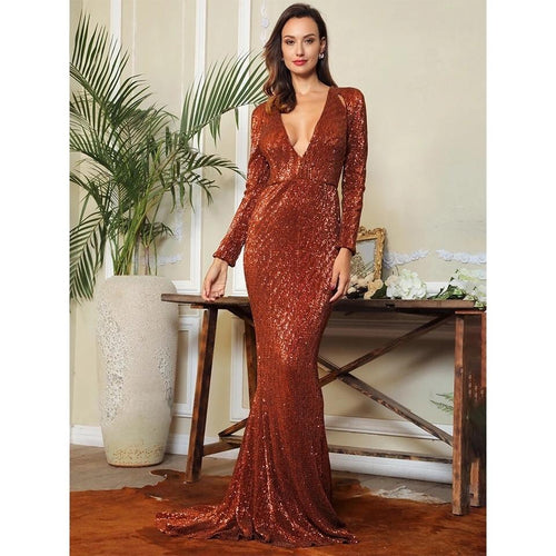 52c822613e138 One True Love Brown Long Sleeve Sequin Maxi Gown Dress - Fashion Genie  Boutique