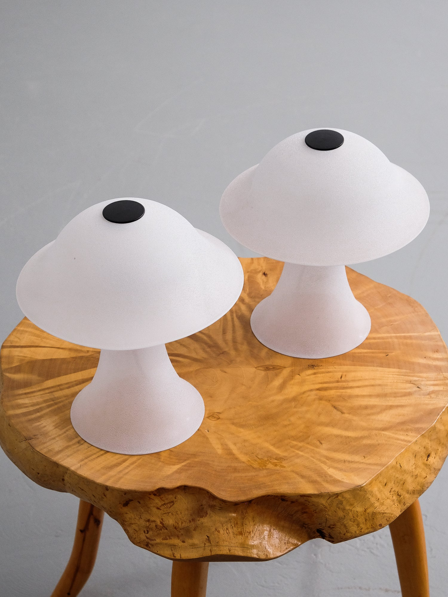 Satin Glass Mushroom Table Lamps By Peill Putzler, 1970s