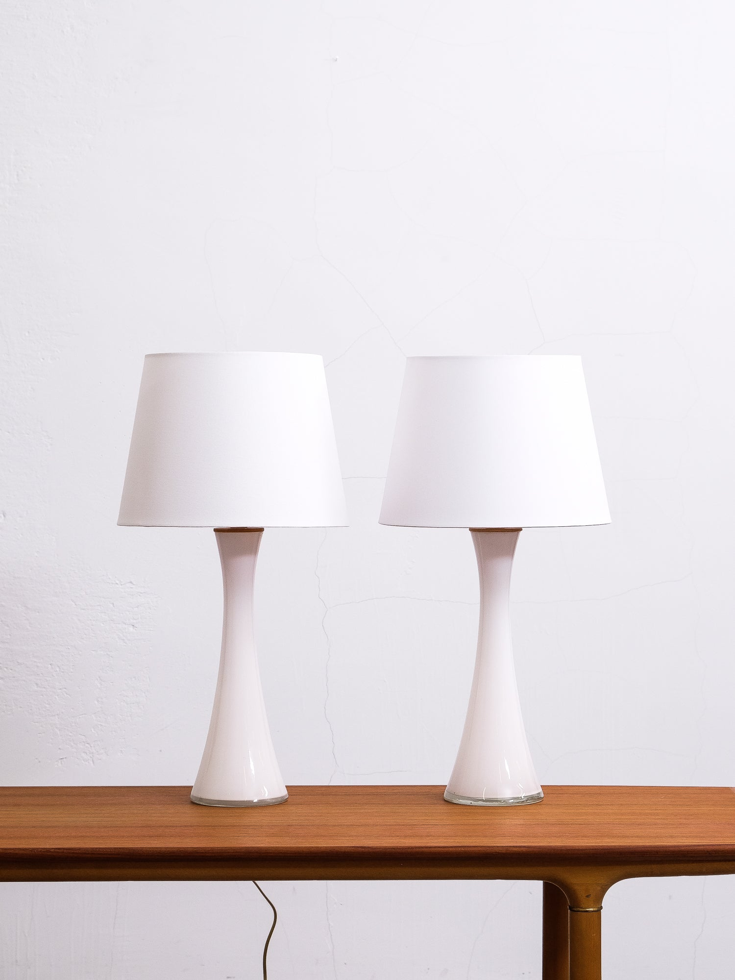 Pair of Opaline Glass and Teak Table Lamps from Bergboms, Sweden, 1960s