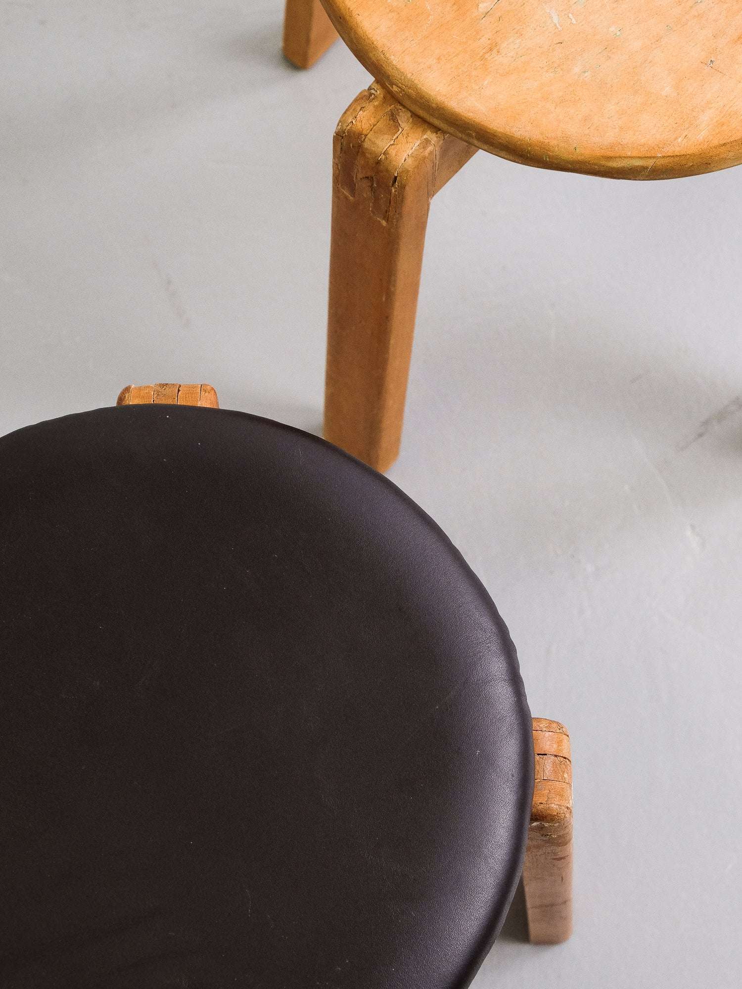 Mid-Century Finnish Patinated Wooden Stool
