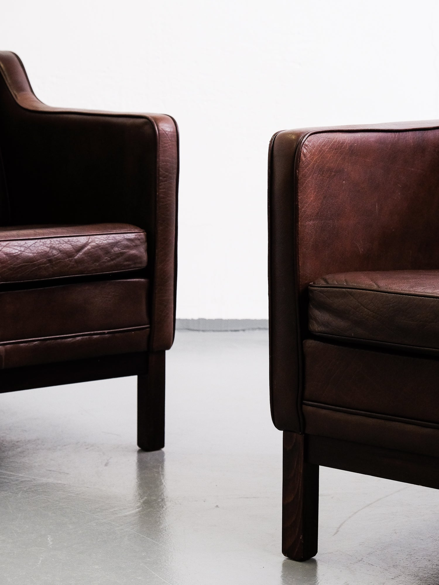 Børge Mogensen Style Danish Brown Leather Lounge Chairs