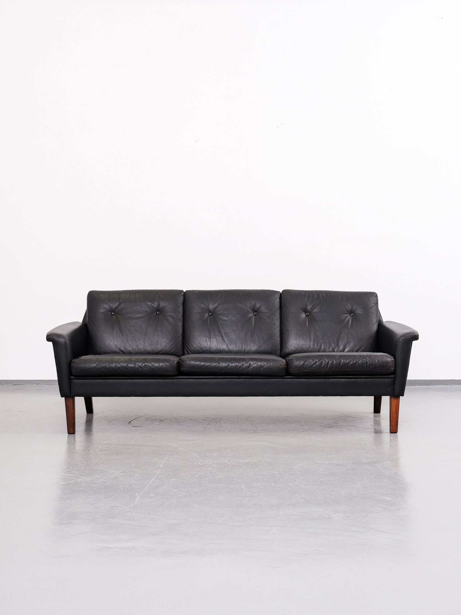 Swedish Black Leather 3-Seater Sofa, 1960s