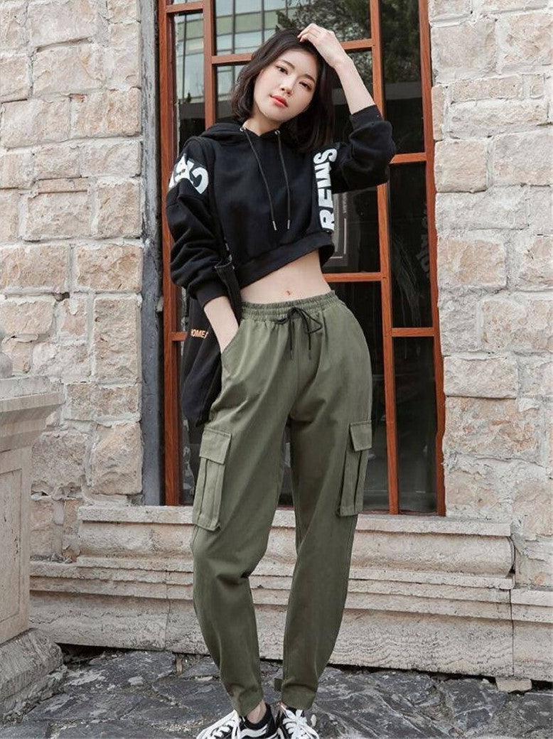 Ankle Length High Waist Street- Punk Cargo Pants